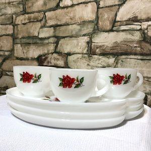 Vintage Tea Coffee Cup Snack Plate Set Red Rose 3